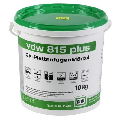 Gftk VDW 815 plus 2K-Fugenmörtel steingrau 10kg f. Keramik Platten
