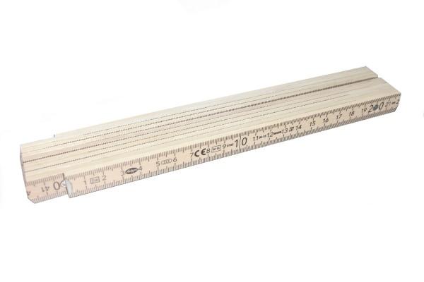Holz-Meterstab 2m - 10 Glieder mit Sondermarkierung Farbe: Natur