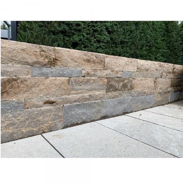 Fränkischer Muschelkalk Verbundmauerst. 12x18 cm braun/grau